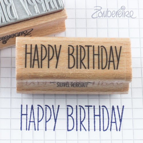 Textstempel Happy Birthday in Satzschrift