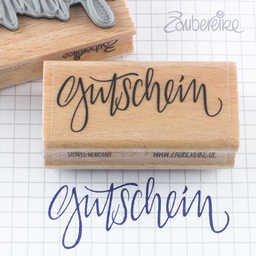 Textstempel Gutschein im Handlettering-Stil
