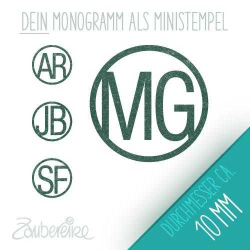 Monogramm-Stempel mit schlichten Buchstaben im Kreis, 10 mm