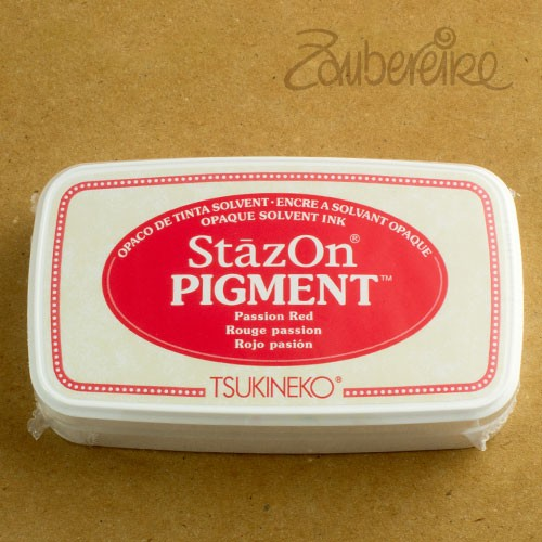 StazOn Pigment 021 Passion Red, solvent opaque ink