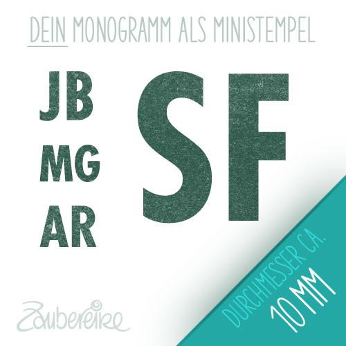 Monogramm-Stempel mit geraden Buchstabenin fetter Schrift, 10 mm