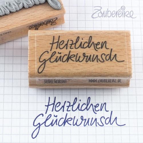 Textstempel Herzlichen Glückwunsch in Handschrift