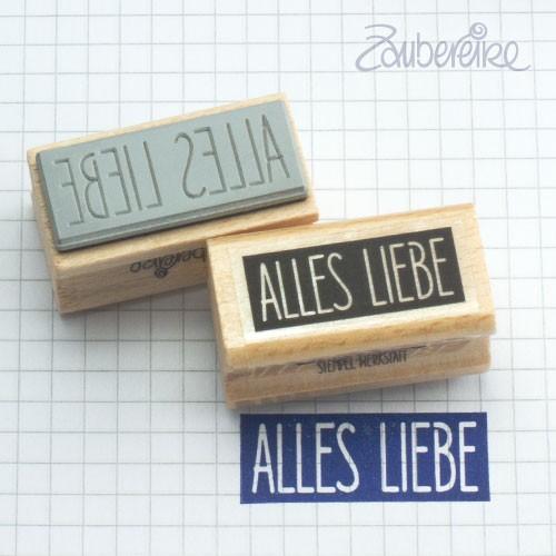 Textstempel Alles Liebe in Satzschrift aus Farbfeld
