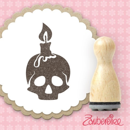 Ministempel Schädel mit Kerze
