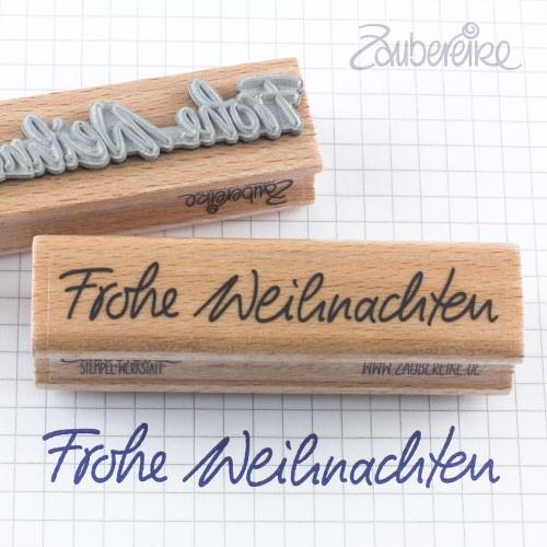 Textstempel Frohe Weihnachten in Handschrift
