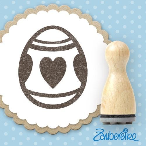 Ministempel Osterei mit Herzen