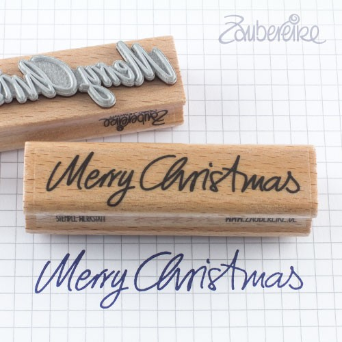 Textstempel Merry Christmas in Handschrift