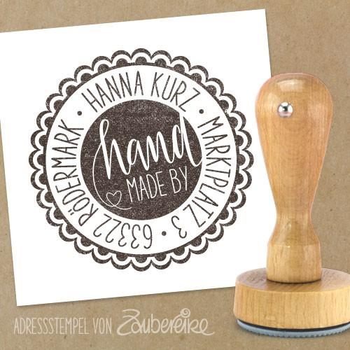 """Adresstempel """"handmade by ..."""""""