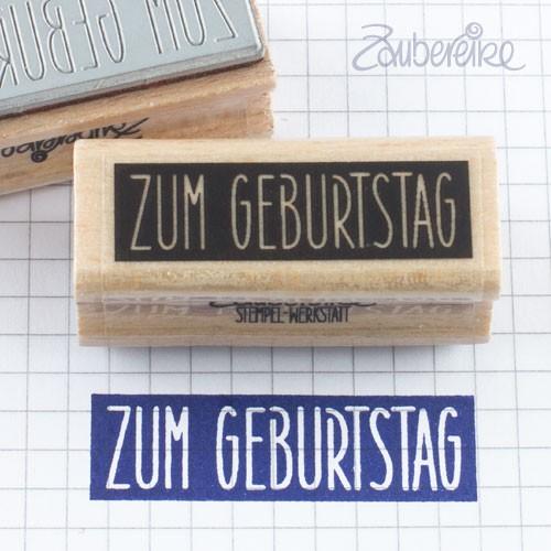 Textstempel Zum Geburtstag in Satzschrift auf Farbfeld