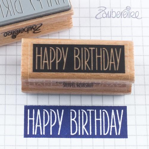 Textstempel Happy Birthday in Satzschrift auf Farbfeld