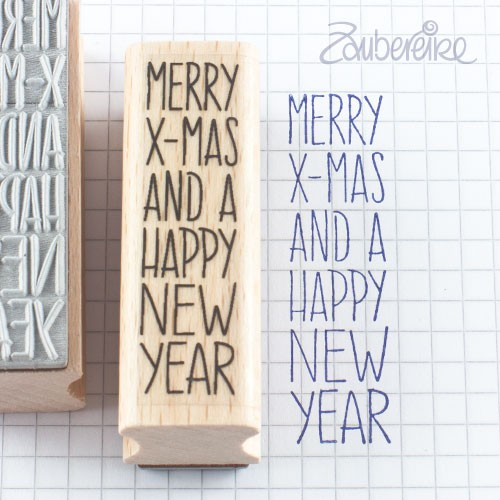 Textstempel Merry X-Mas and a Happy New Year